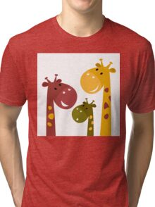 Beautiful Giraffes isolated on White Tri-blend T-Shirt