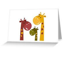 Beautiful Giraffes isolated on White Greeting Card