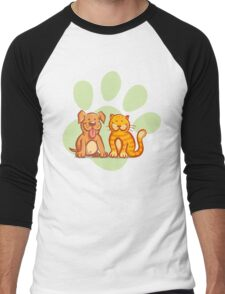 Cat and dog Men's Baseball ¾ T-Shirt