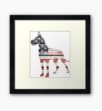 Patriotic Great Dane Framed Print