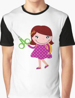 Cute happy child with shears. Cartoon illustration Graphic T-Shirt