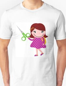 Cute happy child with shears. Cartoon illustration Unisex T-Shirt