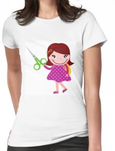 Cute happy child with shears. Cartoon illustration Womens Fitted T-Shirt
