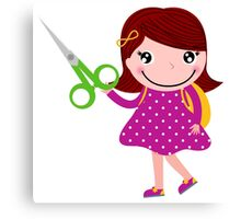 Cute happy child with shears. Cartoon illustration Canvas Print