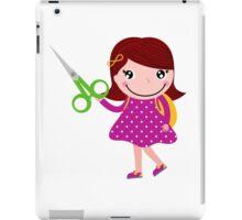 Cute happy child with shears. Cartoon illustration iPad Case/Skin