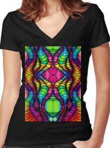 Colorful Tube Worms in Symmetry Women's Fitted V-Neck T-Shirt