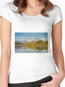 Tetons and Fall Colors Reflected in the Snake River Women's Fitted Scoop T-Shirt