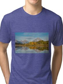 Tetons and Fall Colors Reflected in the Snake River Tri-blend T-Shirt
