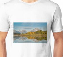 Tetons and Fall Colors Reflected in the Snake River Unisex T-Shirt