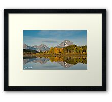 Tetons and Fall Colors Reflected in the Snake River Framed Print