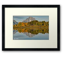 Mount Moran and Fall Colors Reflected in the Snake River Framed Print