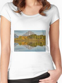 Mount Moran and Fall Colors Reflected in the Snake River Women's Fitted Scoop T-Shirt