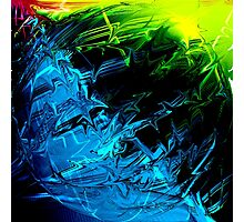 Electric Lightning Green Blue Pink Abstract Sphere Photographic Print