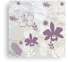 Flowers in Mauve and Grey, #redbubble, #design, #pattern  Canvas Print