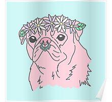Festival flower crown pastel septum pug dog Poster