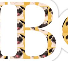 Pi phi Letters Pugs Sticker