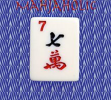 Mahjaholic Lucky Seven with Blue Zebra Design-#15 by Susan Werby