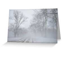 winter snow in the fog Greeting Card