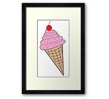 Pink Ice Cream Cone w/ Sprinkles Framed Print
