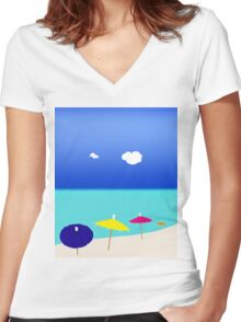 Colorful beach umbrellas Women's Fitted V-Neck T-Shirt