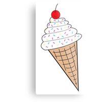 Vanilla Ice Cream Cone w/ Sprinkles Metal Print