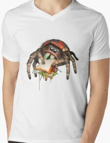 """""""Lunch on the Fly"""" Jumping Spider Sandwich #2 Mens V-Neck T-Shirt"""