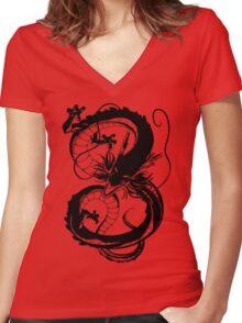 Black Shenron v3 Women's Fitted V-Neck T-Shirt