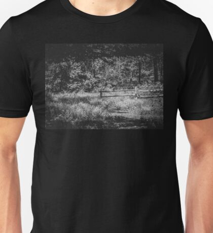 The Lower Pasture in Black and White Unisex T-Shirt