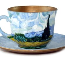 TeaVanGogh - Wheat Field with Cypresses Sticker