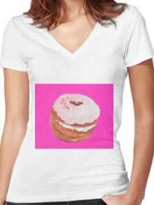 Cronut painting Women's Fitted V-Neck T-Shirt