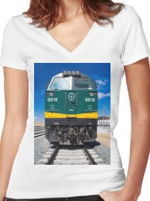 Train Lhasa - Shanghai Women's Fitted V-Neck T-Shirt