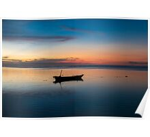 Sunset with fisher boat and still water on Gili Air Island, Indonesia Poster