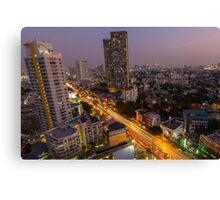 Aerial view of Bangkok at twilight night, Thailand Canvas Print