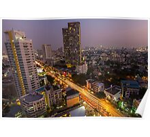 Aerial view of Bangkok at twilight night, Thailand Poster