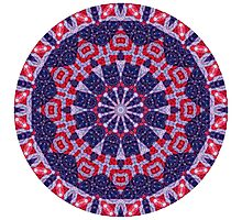 Red and Blue Patriotic Mandala Photographic Print