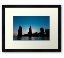 Sunset in Saigon with Bitexco tower silhouette, Vietnam Framed Print