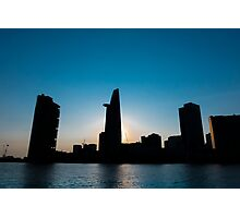 Sunset in Saigon with Bitexco tower silhouette, Vietnam Photographic Print