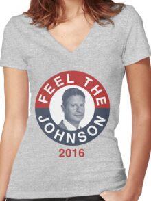 Gary Johnson Feel the Johnson Women's Fitted V-Neck T-Shirt