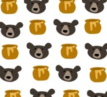 Bear And Honey Pot Pattern Sticker