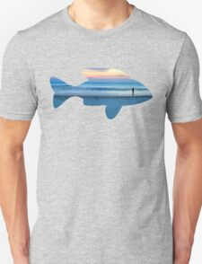 Fish & Seascape Fisherman Silhouette  Unisex T-Shirt