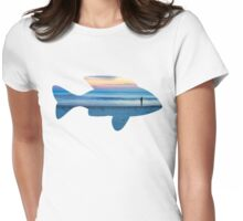 Fish & Seascape Fisherman Silhouette  Womens Fitted T-Shirt