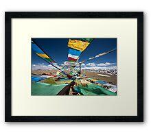 Praying flags in Tibet Framed Print