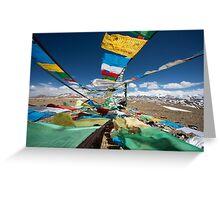 Praying flags in Tibet Greeting Card