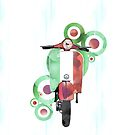 Watercolour scooter art by Auslandesign