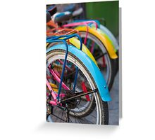 Rear view of colorful bicycles in Guatape, Colombia Greeting Card