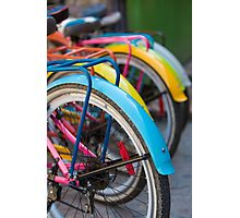 Rear view of colorful bicycles in Guatape, Colombia Photographic Print