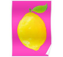 Lemon on pink background Poster