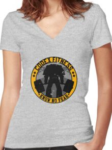 Know No Fear (large badge) Women's Fitted V-Neck T-Shirt