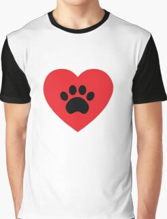 Paw Print Heart Graphic T-Shirt