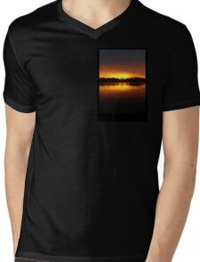 Boat Silhouette Mens V-Neck T-Shirt